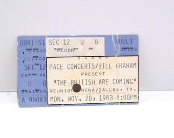 The British Are Coming Ticket Stub November 28 1983 Vintage Live Concert Tour Reunion Arena Dallas Texas Eric Clapton Jeff Beck Jimmy Page