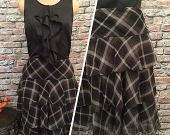 Vintage Ralph Lauren Lauren Silk Black Charcole and Grey Plaid Tiered Skirt    Size 14