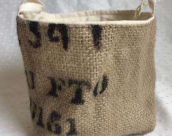Recycled coffee sack fabric bin