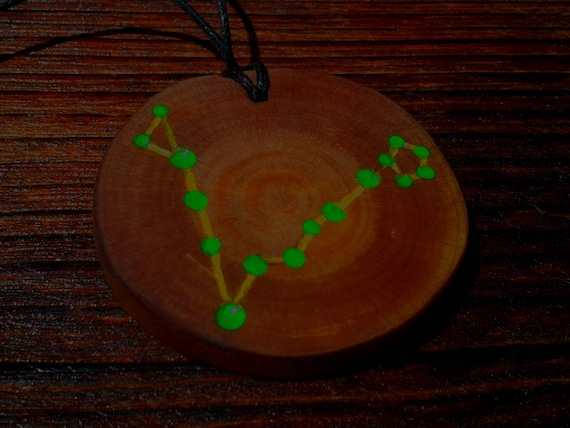 Cedar pendant glowing in the dark pisces zodiac cedar pendant glowing in the dark pisces zodiac constellation constellation of fish handmade siberian cedar aloadofball Image collections