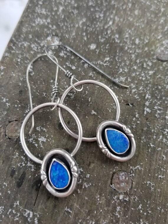 Handmade Australian Opal Dangle Earrings, Sterling Silver Blue Opal Hoop Earrings