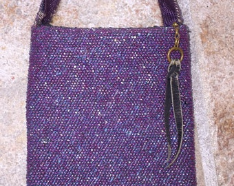 Purple Beaded Flapper Bag Art Deco Flapper Purse Iridescent Carnival Glass Fringed Bag True Authentic Period Piece