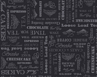 By The HALF YARD - Afternoon Delight Fabric by QuiltingTreasures Fabrics, Cafe Words, Pattern #23354-J