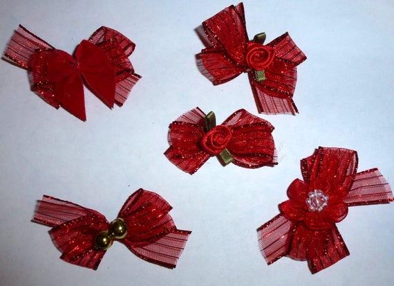 Puppy Bows ~5 red organza stripe EVERYDAY BOWS Yorkie Maltese Shih Tzu ~Usa seller (fb81)