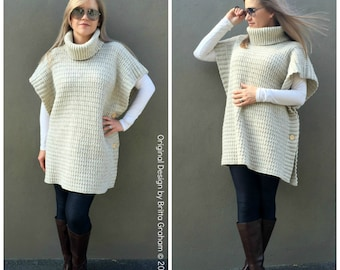 Poncho Crochet Pattern Modern Style No.932 Digital ePattern Instant Download Easy to Make English