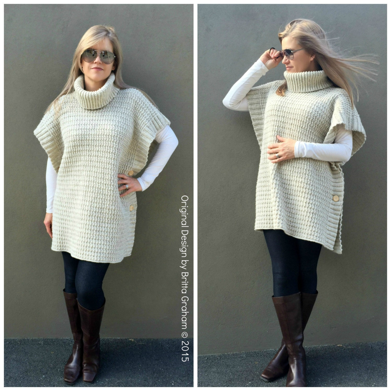 Crochet poncho pattern modern style no932 digital epattern zoom bankloansurffo Images