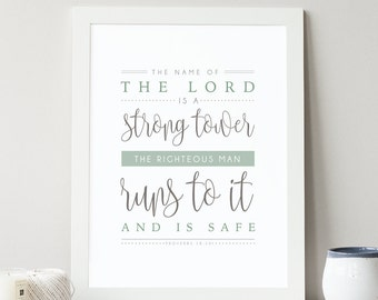 Proverbs 18:10 - Bible Verse Art - Scripture Print - Bible Verse Typography - Wall Quote - Bible Verse for Men