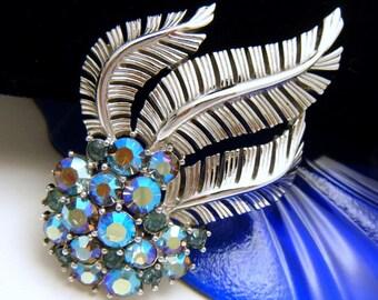 Crown Trifari Vintage AB Rhinestone Brooch Silver Tone Fronds