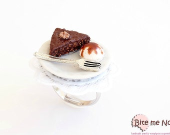 Mini Food Greek Nut Pie Ring,Traditional Greek Dessert Ring, Miniature Food, Polymer clay Sweets, Mini Food Jewelry