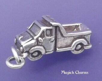 DUMP TRUCK Charm .925 Sterling Silver Construction Worker Pendant - lp3105