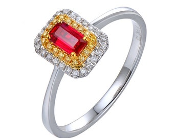 18k White Gold Ruby & Diamond Ring / Natural Emerald Cut Ruby Engagement Ring.