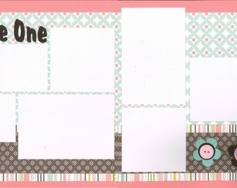12x12 LITTLE ONE GIRL scrapbook page kit, premade scrapbook, 12x12 premade scrapbook page, premade scrapbook page, 12x12 scrapbook layout