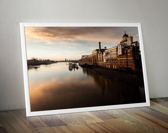 River Thames at Dawn from Tower Bridge towards Canary Wharf. City Skyline Large. Original Oversized Photo Artwork