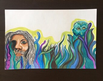 Will O' the Wisp Leon Russel Cover Recreation Watercolor