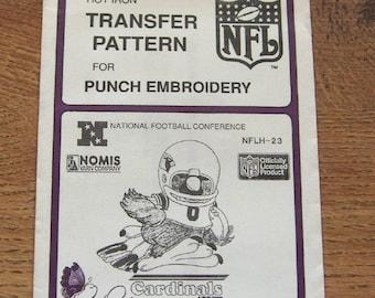 Vintage 80s pretty punch embroidery transfer pattern NFLH-23  Cardinals NFL  pkg sealed nip unused