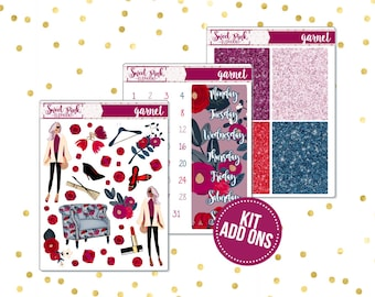 Garnet // Kit ADD ONS-Stickers for the EC Happy Planner Life planner