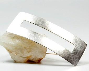 Large rectangular brooch/sawed off/sterling silver/Silver brooch/handmade/PIN/buckle/forged/unique/women/Awschmuckart