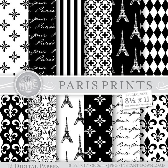 Black white paris theme digital paper 8 1 2 x 11