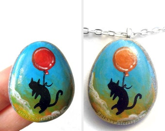 Black Cat Necklace, Pet Painting, Memorial Gift, Balloon Pendant, Hand Painted Rock Art, Keepsake Jewelry, Animal Lover Gift for Her