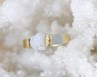 raw moonstone ring | unique engagement ring | june birthstone ring | moonstone stacking ring | white druzy ring | organic stone ring