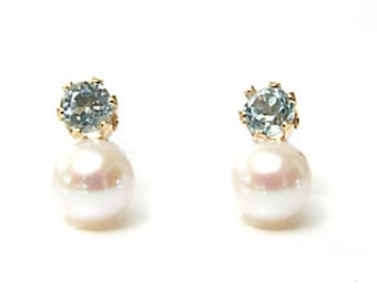 Solid 9ct Gold Blue Topaz and Cultured Pearl Stud earrings S523