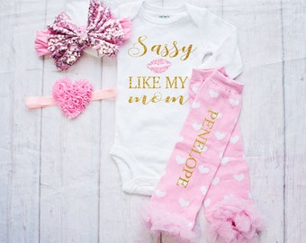 Valentines Day Outfit- Baby Clothes - Baby Bodysuit 1st Valentines Day Outfit - Valentines Shirt- Sassy Like My Mom - My First Valentines