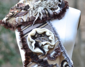 Brown taupe SCARF, Shawl,  OOAK long scarf, up cycled sweaters eco fashion, unique brown boho wrap, refashioned textured rustic shawl