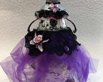 Assemblage Scrap Art Doll,Debutante,Unusual Art for the Collector,Purple,Black,Silver,Upcycled Art.Recycled,Green Living,Outsider Art,RawArt