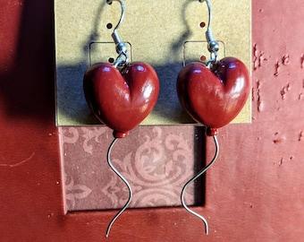 Red Heart Balloon Earrings