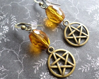 Wicca Pagan Pentacle Earrings - Witch Strega Earrings - Glowing Lantern Yellow Glass Handmade Earrings - Bronze Pentacle Earrings