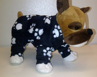 extra small black with white paw print fleece lounge wear