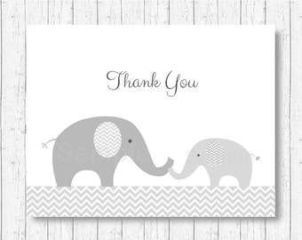 Cute Elephant Thank You Card / Elephant Baby Shower / Grey & White / Chevron Pattern / Folded Card / PRINTABLE Instant Download A144