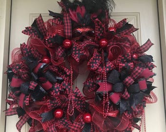 Deco Mesh Mardi Gras Red and Black with Feathered Mask