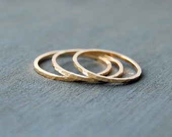 Gold Filled Stacking Rings, Small Stacking Rings, Hammered Stacking Rings, Stacking Rings, Gold Rings, Simple Rings
