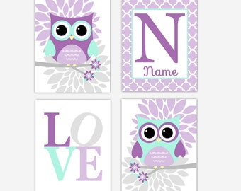 Baby Girl Nursery Wall Art Purple Mint Owl Mum Dahlia Flower Personalized Art Baby Girl Nursery Prints Baby Nursery Decor CHOOSE COLORS