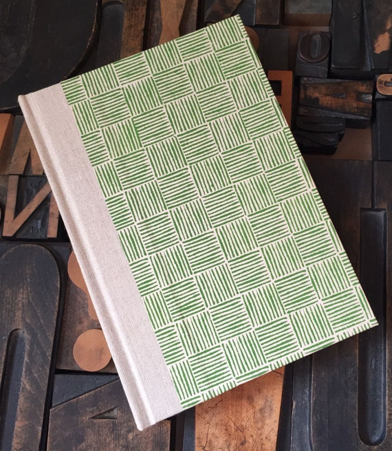 Journal - Small Lined Green Basket Weave