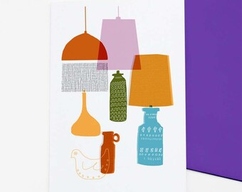 Retro greetings card 'Shades', retro lampshades