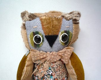 Jac Etoile Owl , soft art textile  creature   by  Wassupbrothers, buho boho  friend, stuffed  doll , recycled  scrappy home decor,