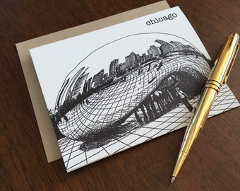 Silver Cloud at Millennium Park - Chicago City Series Letterpress Note Card