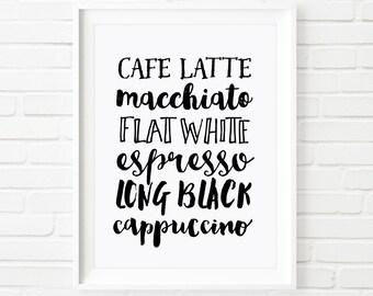 Printable art, Coffee art, Home decor, print, Typography print, coffee lovers, black and white, coffee sign, cafe art, wall art