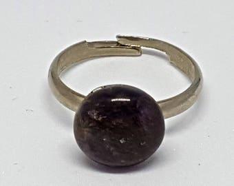 Adjustable ring purple polished stone