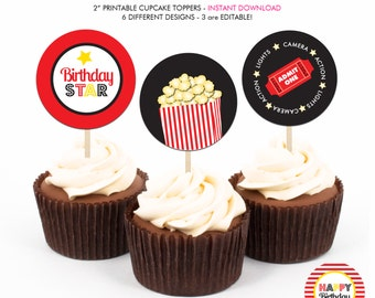 Movies and Popcorn Birthday Party - Printable 2 inch round Cupcake Toppers - Instant Download PDF File