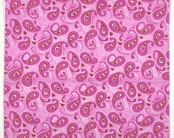 """Doggie Kitty Diva Princess - Cotton Bandana - 21-1/2"""" Square Fabric for Crafts and Sewing - Pink Paisley, Pawprints, Hearts"""