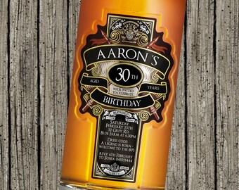 Mens Scotch Liquor themed birthday invitation