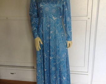 Vintage Emilio Borghese Long Dress Blue with White Flowers