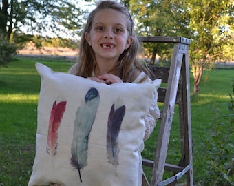 Throw Pillow-3 Watercolor Feathers