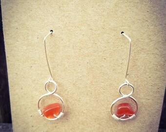 Silver Drop Earrings with Carnelian Beads