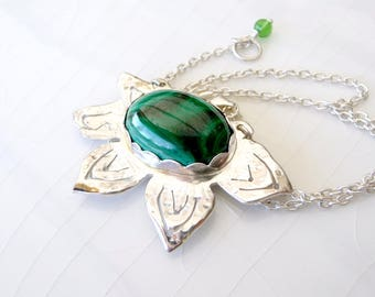 SALE Malachite Poinsettia Necklace - One of a Kind, Hand Crafted with .925 Sterling Silver, Pendant