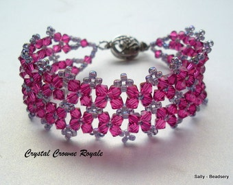 Pink Swarovski Elements Bracelet, Fuchsia Bracelet, Pink Beaded Cuff Bracelet, Pink Crystal Jewelry