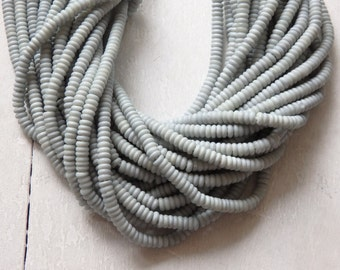 "Bone beads from India - PALE BLUE GREY, 20"" strand of cow bone rondelle beads, 6mm bone beads in light grey blue, ethnic jewelry supplies"